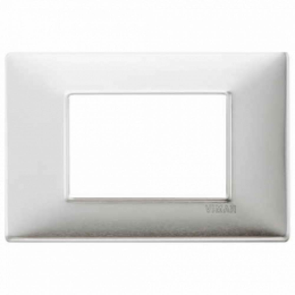 Placca 3 posti alluminio spazzolato 14653.81 vimar plana