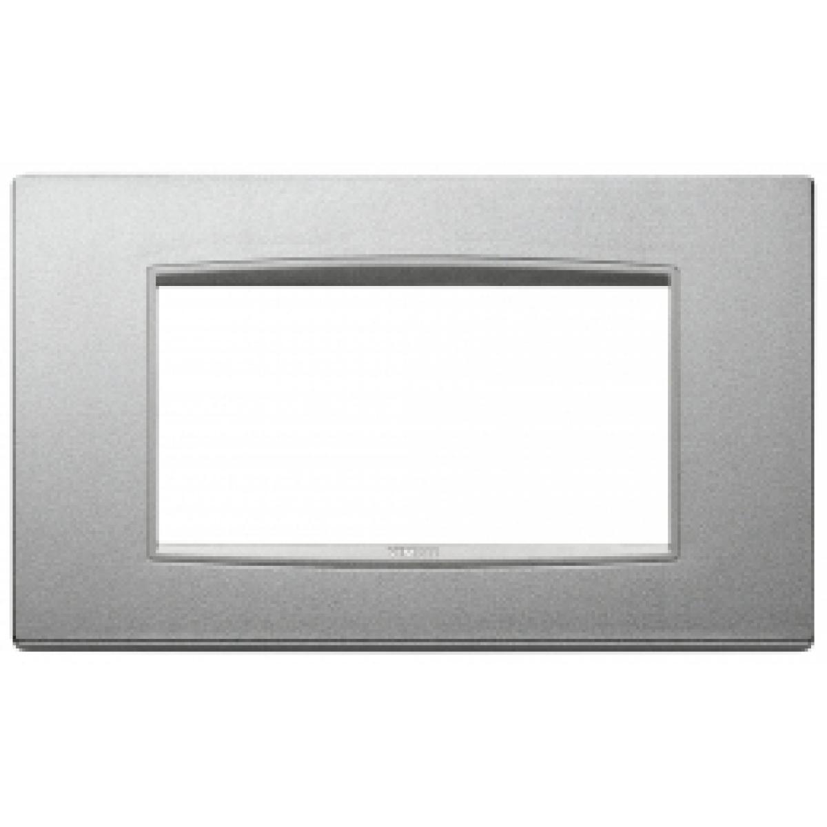 Eikon next vimar  placca classic 4 posti colore argento matto 20654.N13