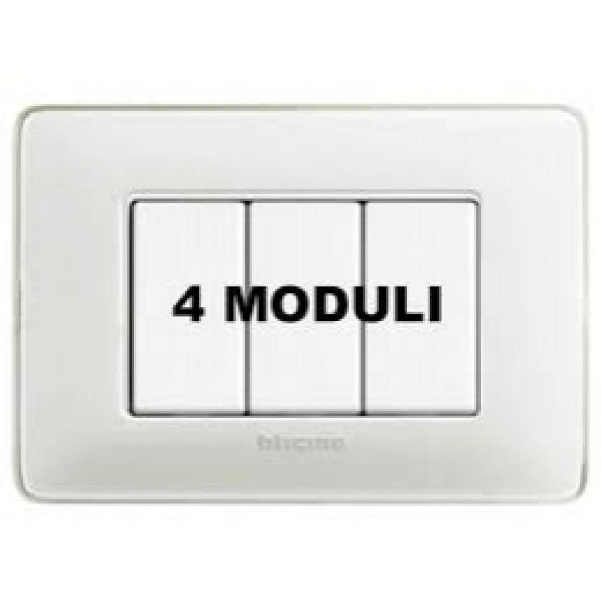 Placca 4 Moduli Ghiaccio Bticino Matix AM4804CBN