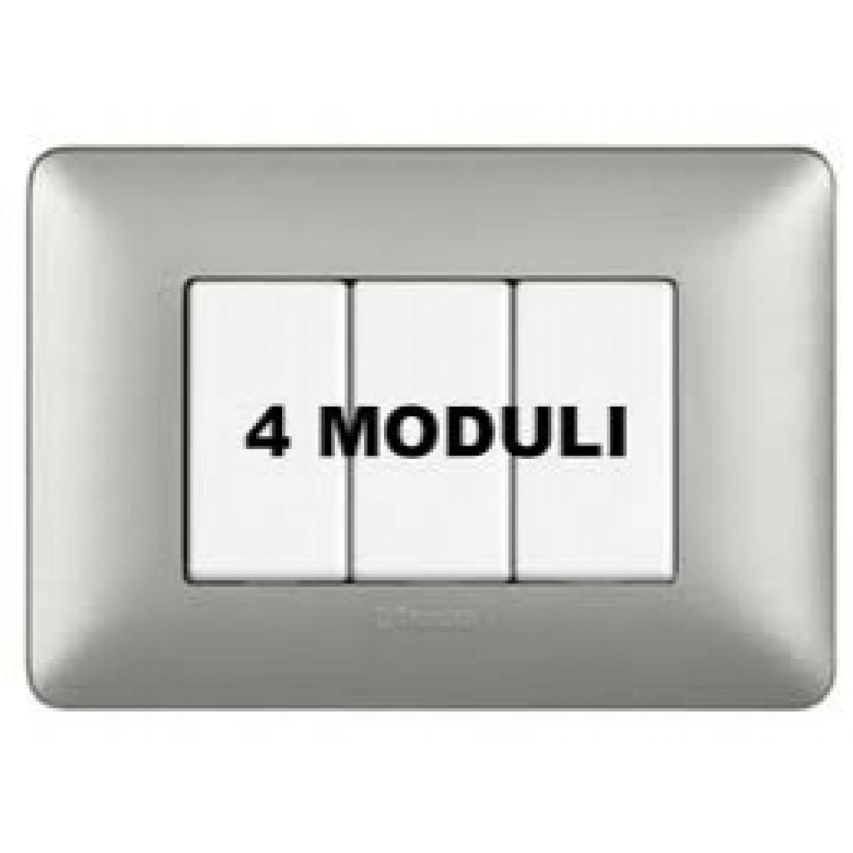 Placca 4 Moduli Silver Bticino Matix AM4804MSL