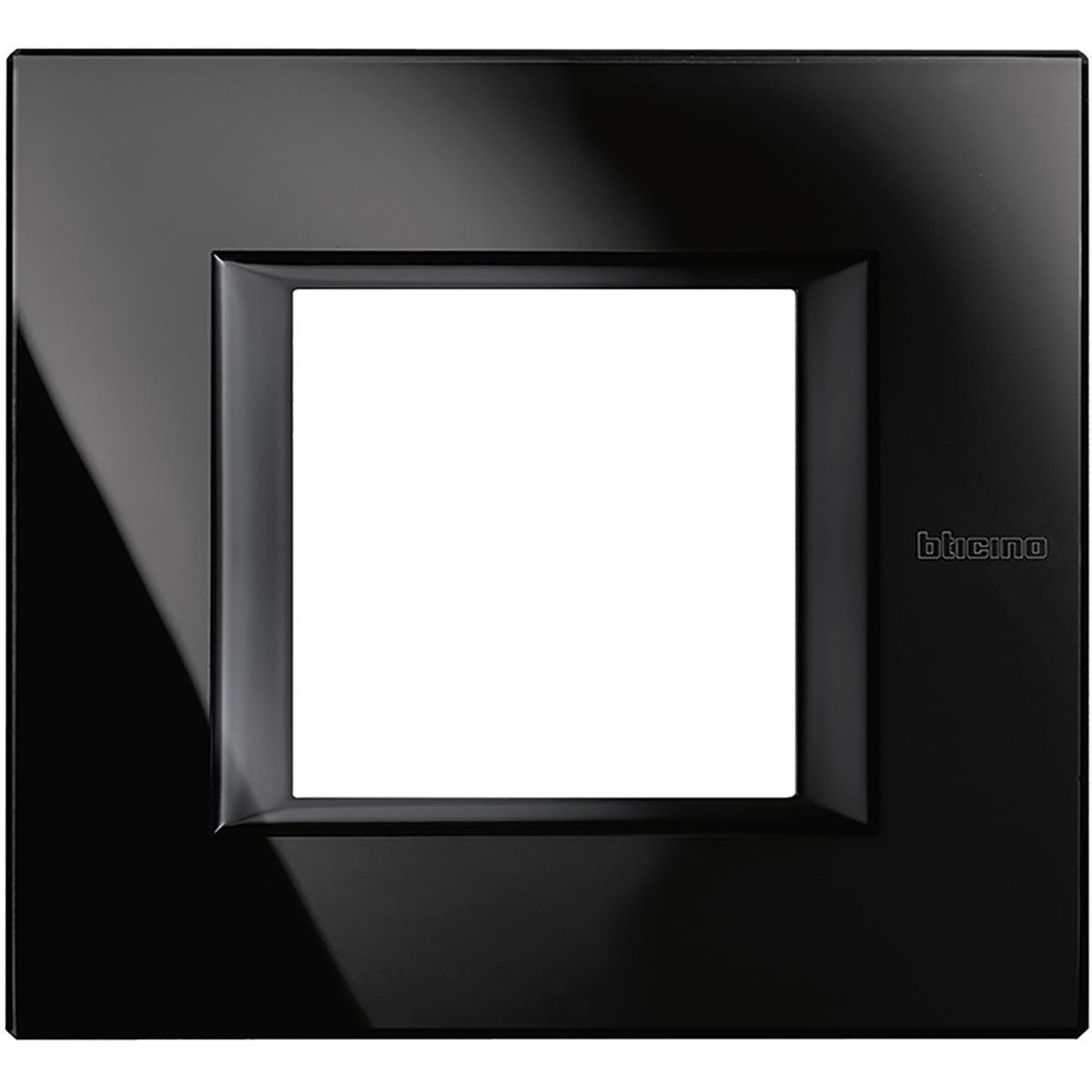 Placca 2 Posti Bticino Axolute Vetro Nighter HA4802VNB
