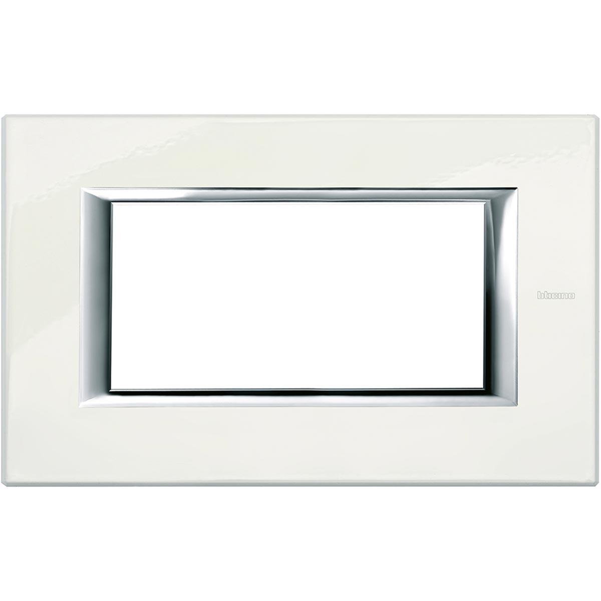 Placca 4 Posti Bticino Axolute Bianco Limoges HA4804BG