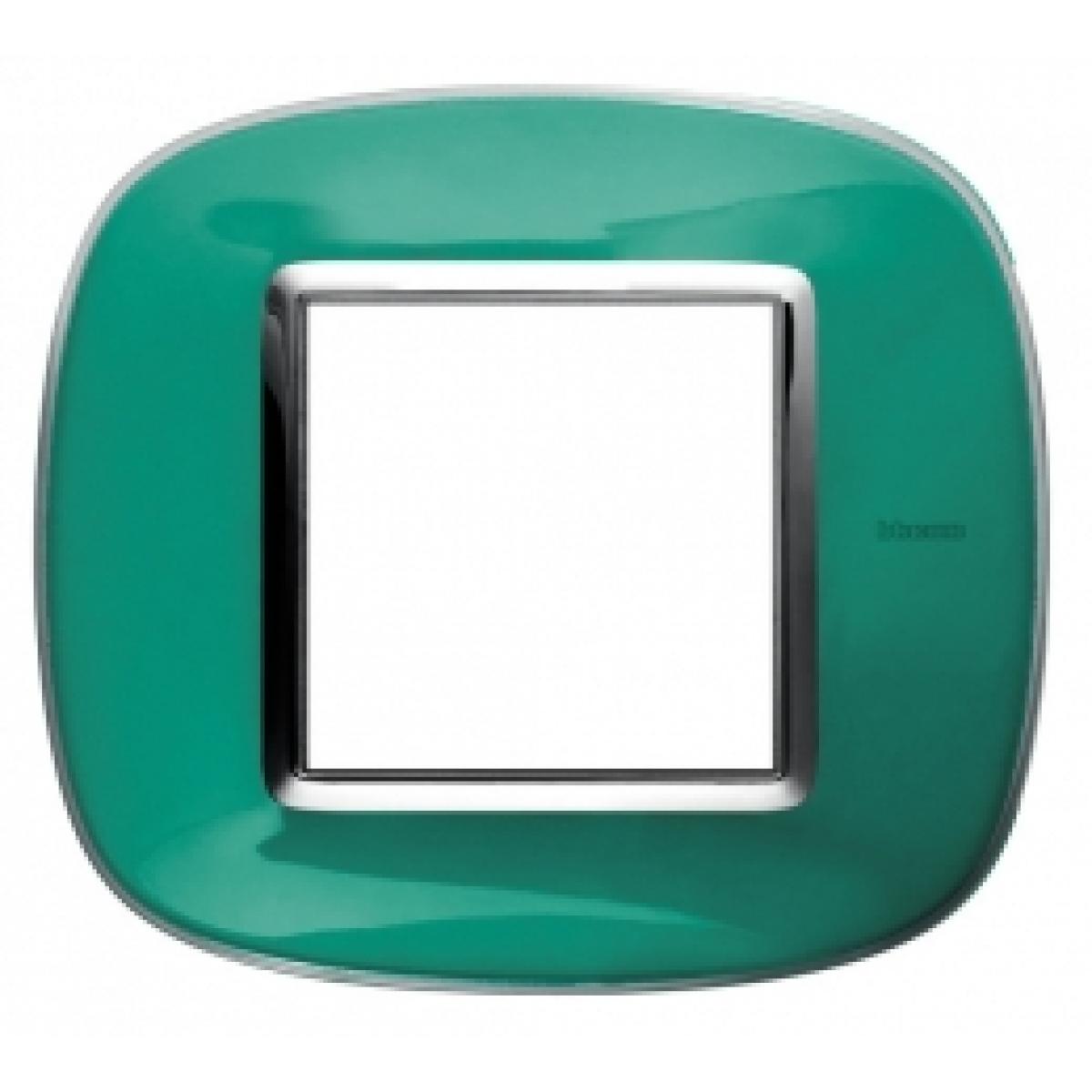 Placca Ovale 2 Posti Bticino Axolute Verde Liquido HB4802DV