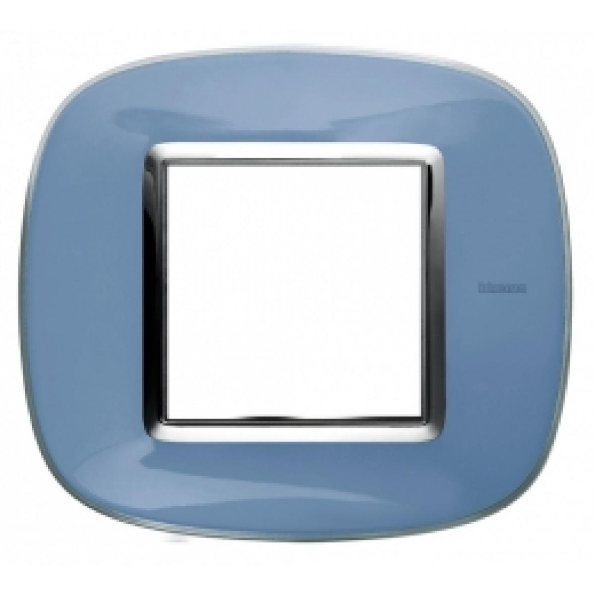 Placca Ovale 2 Posti Bticino Axolute Azzurro Liquido HB4802DZ