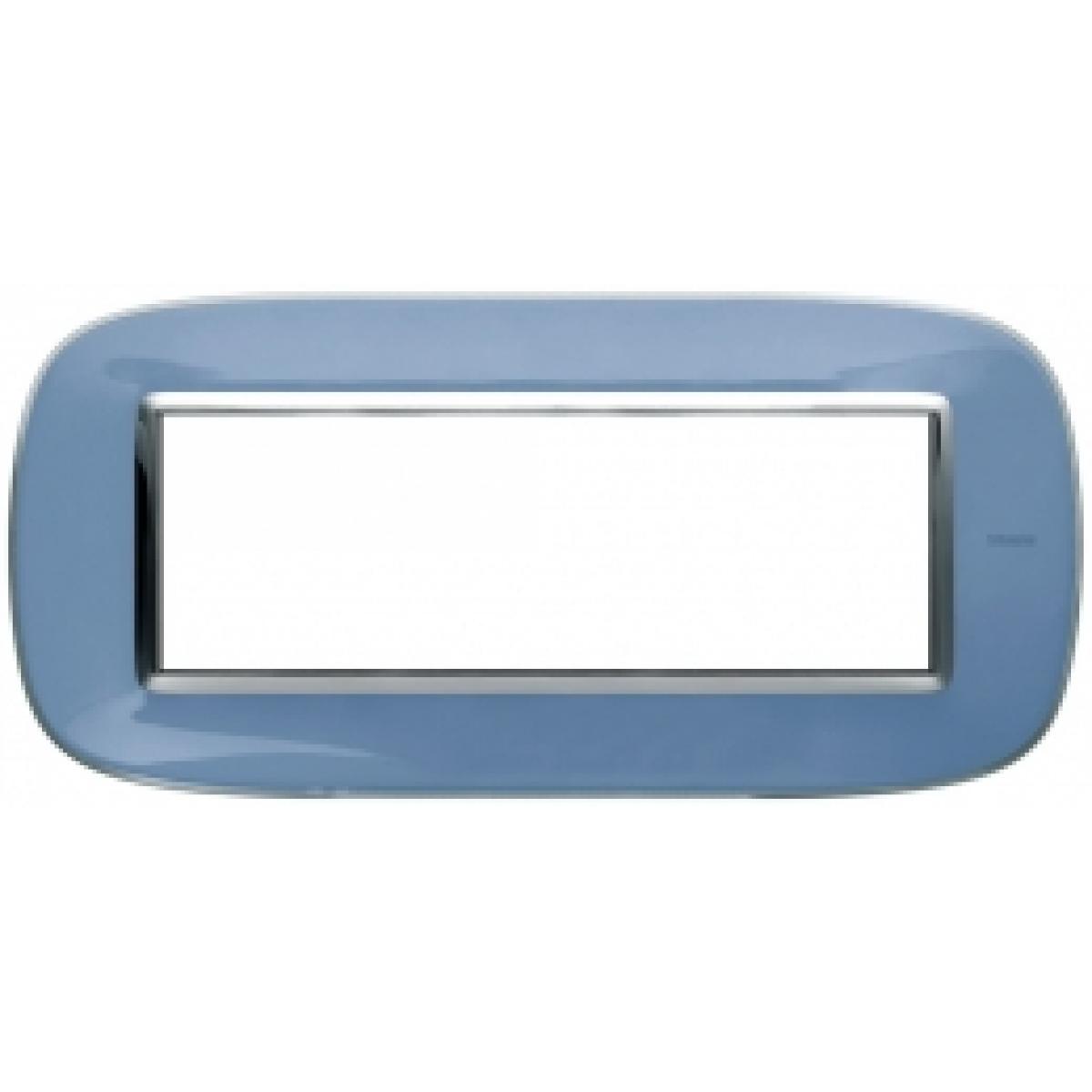 Placca Ovale 6 Posti Bticino Axolute Azzurro Liquido HB4806DZ
