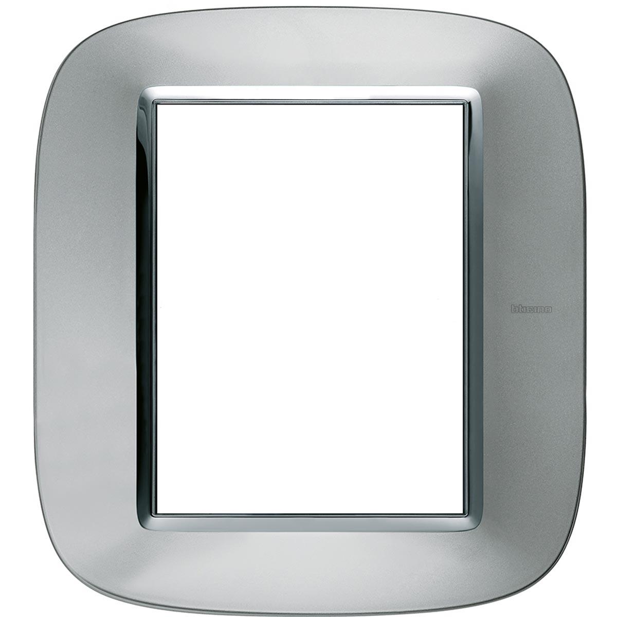 Placca Ovale 3+3 Bticino Axolute Alluminio HB4826XC