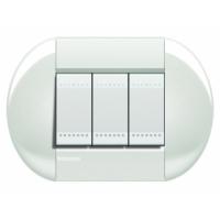 Placca Tonda 3 Moduli Bianco Bticino Living International LNB4803BI