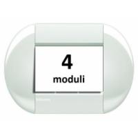 Placca Tonda 4 Moduli Bianco Bticino Living International LNB4804BI