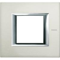 Placca 2 Posti Bticino Axolute Alluminio Spazzolato HA4802XC