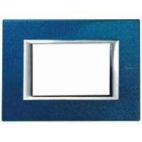 Placca 3 Posti Bticino Axolute Blu Meissen HA4803BM