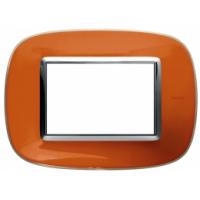 Placca Ovale 3 Posti Bticino Axolute Arancio Liquido HB4803DR