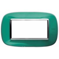 Placca Ovale 4 Posti Bticino Axolute Verde Liquido HB4804DV