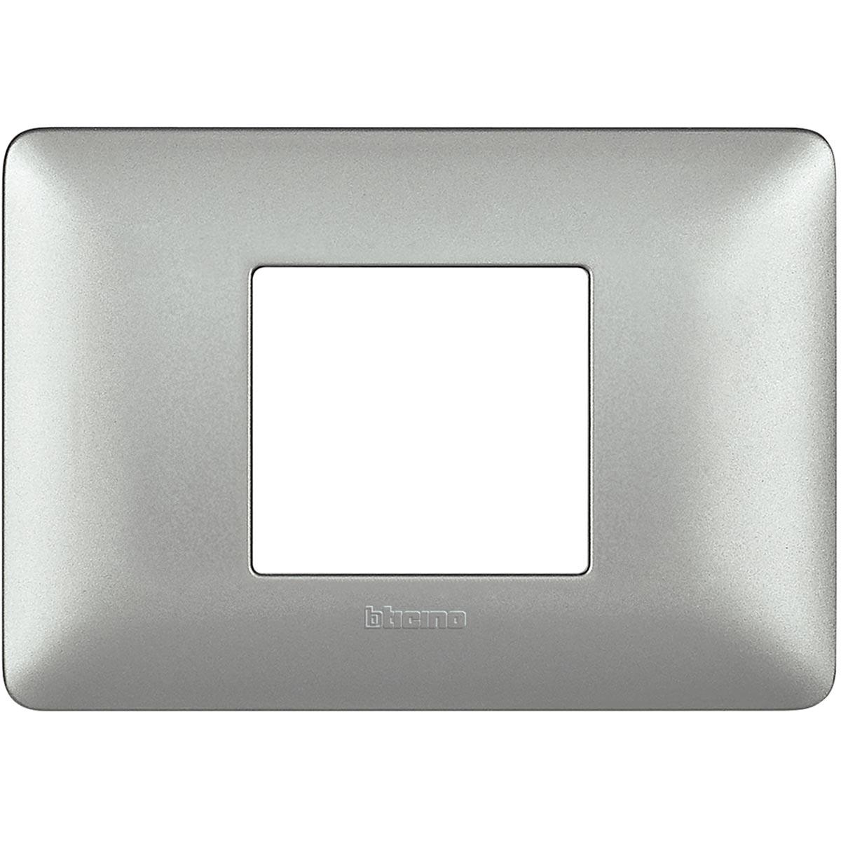 Placca 2 Moduli Silver Centrali Bticino Matix AM4819MSL