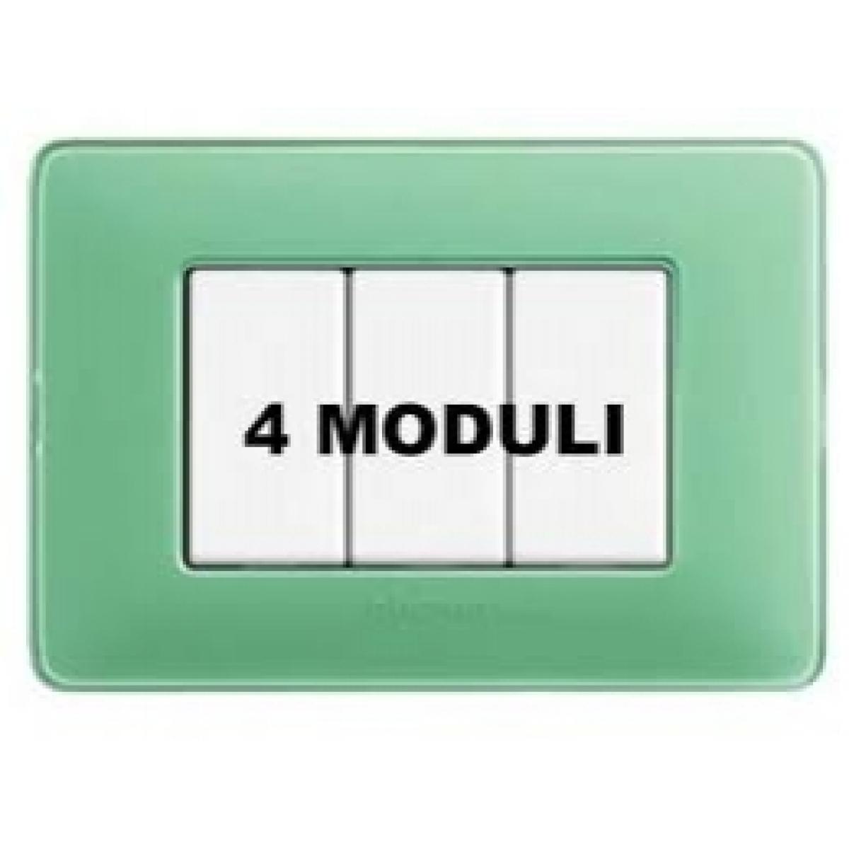 Placca 4 Moduli Te Verde Bticino Matix AM4804CVC