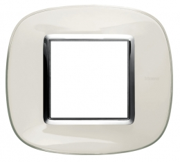 Placca Ovale 2 Posti Bticino Axolute Bianco Liquido HB4802DB