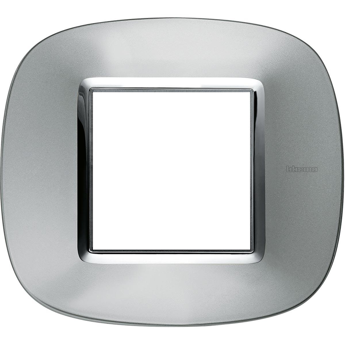Placca Ovale 2 Posti Bticino Axolute Alluminio HB4802XC ...