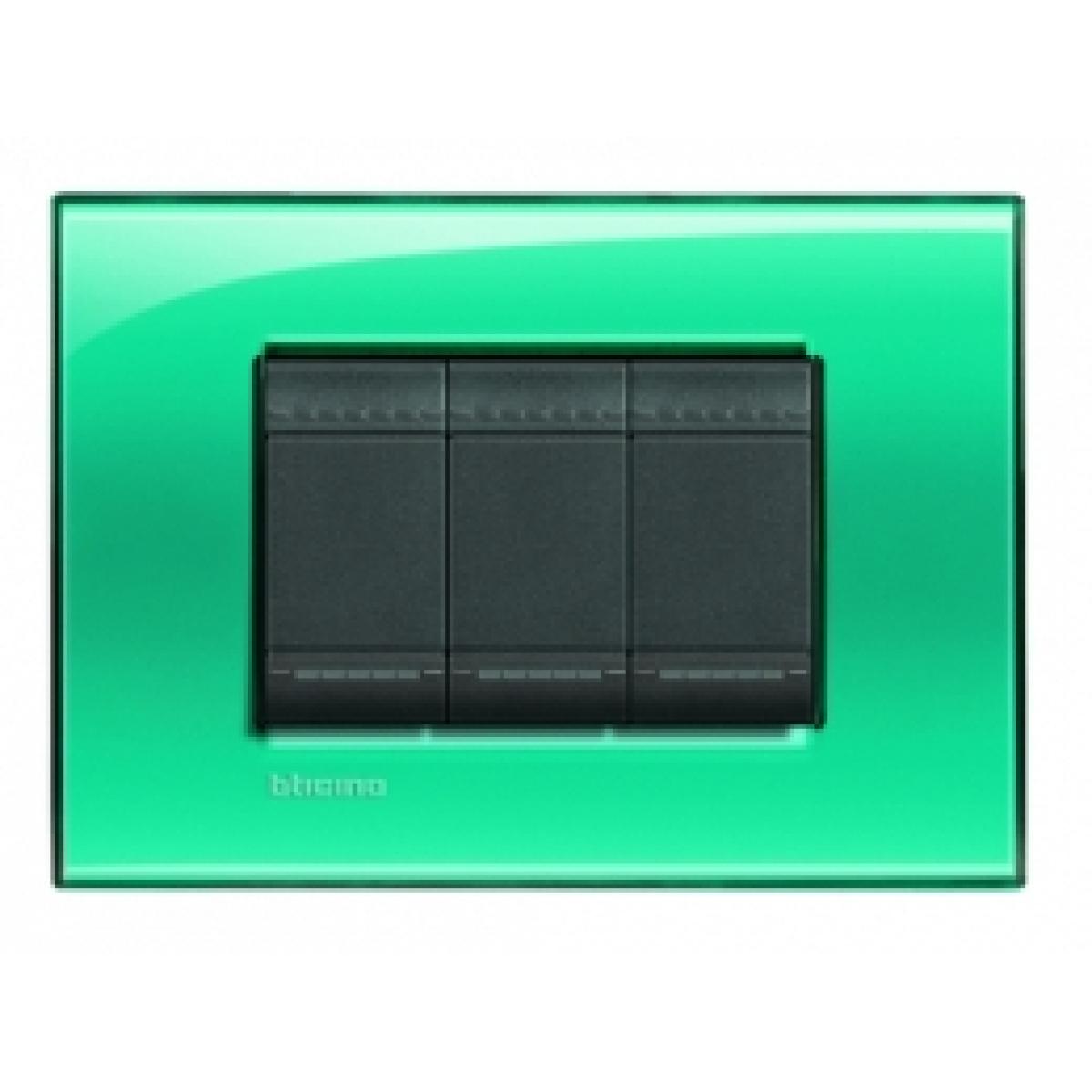 Placca 3 Moduli Verde Deep Bticino Living International LNA4803VD