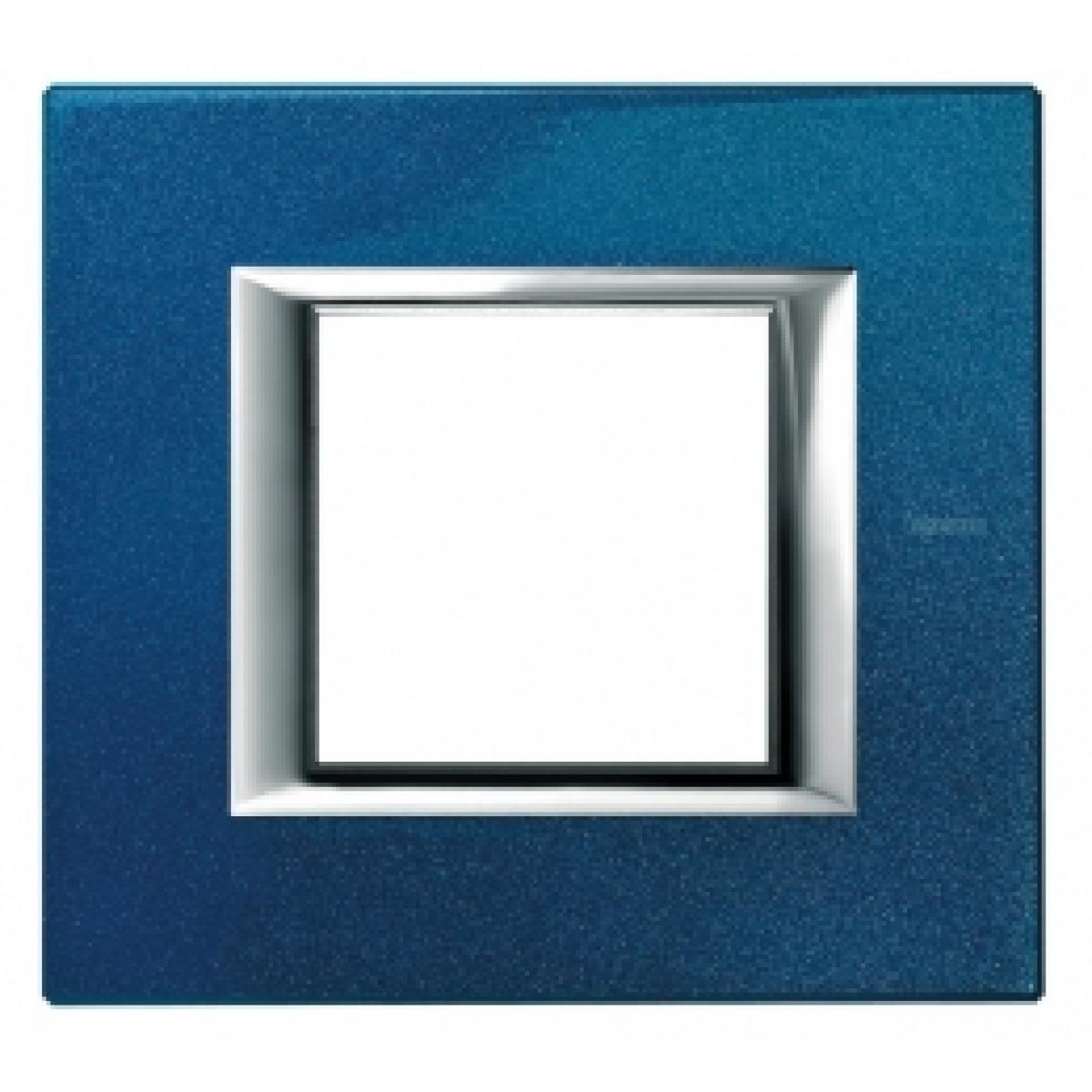 Placca 2 Posti Bticino Axolute Blu Meissen HA4802BM