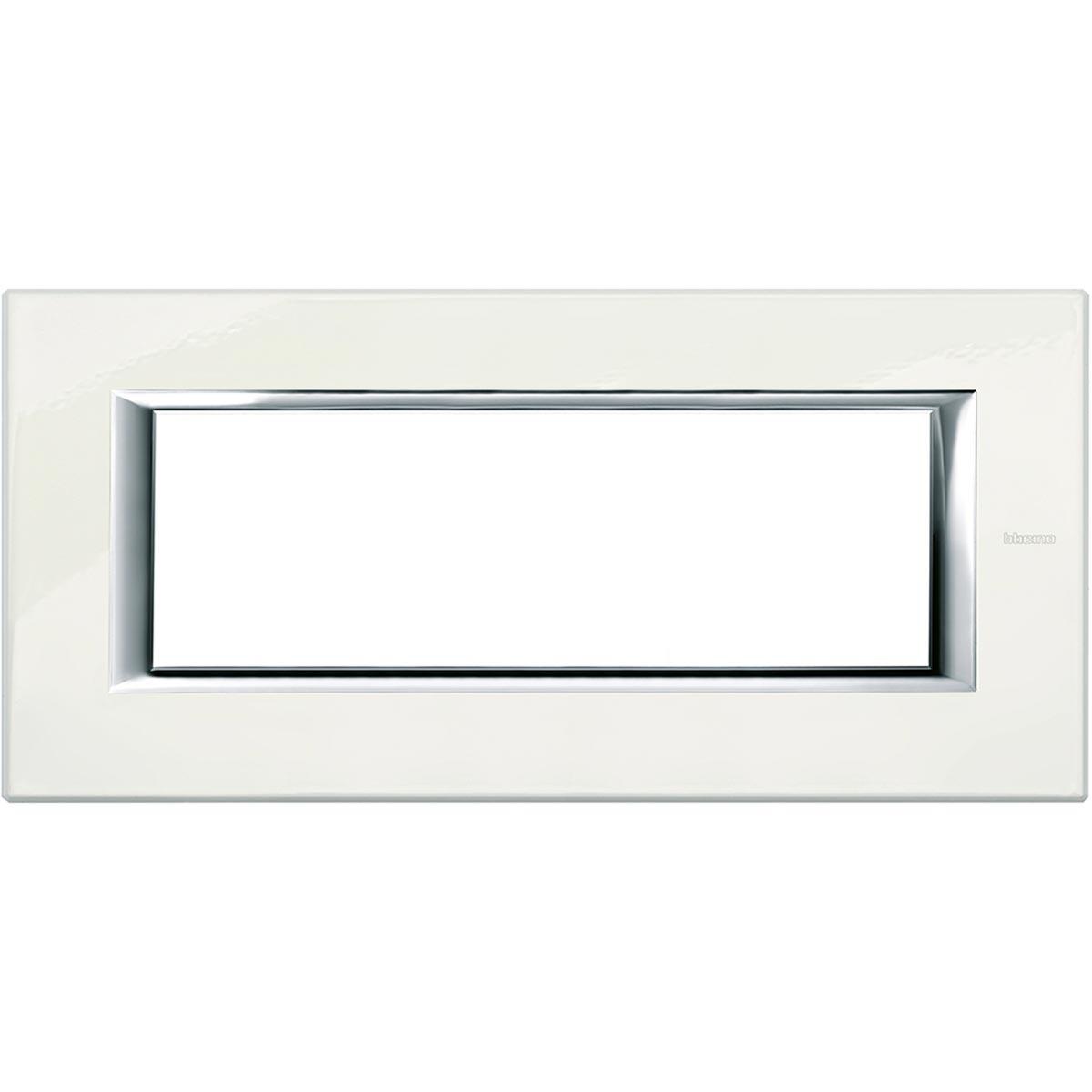 Placca 6 Posti Bticino Axolute Bianco Limoges HA4806BG