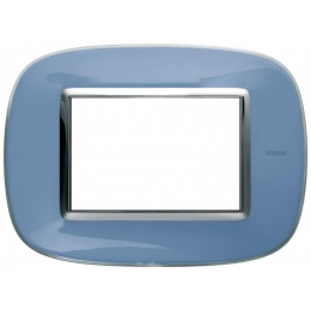Placca Ovale 3 Posti Bticino Axolute Azzurro Liquido HB4803DZ