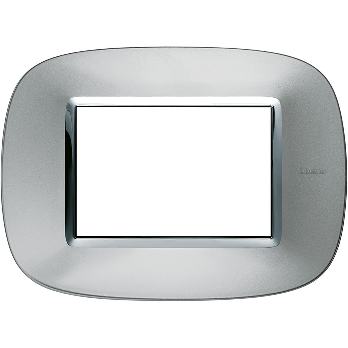 Placca Ovale 3 Posti Bticino Axolute Alluminio HB4803XC