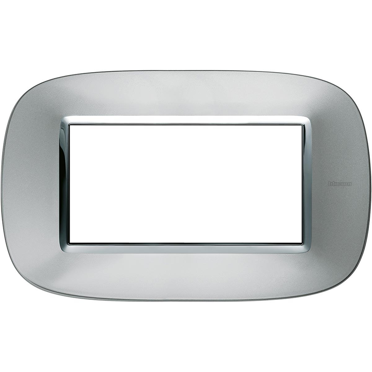 Placca Ovale 4 Posti Bticino Axolute Alluminio HB4804XC