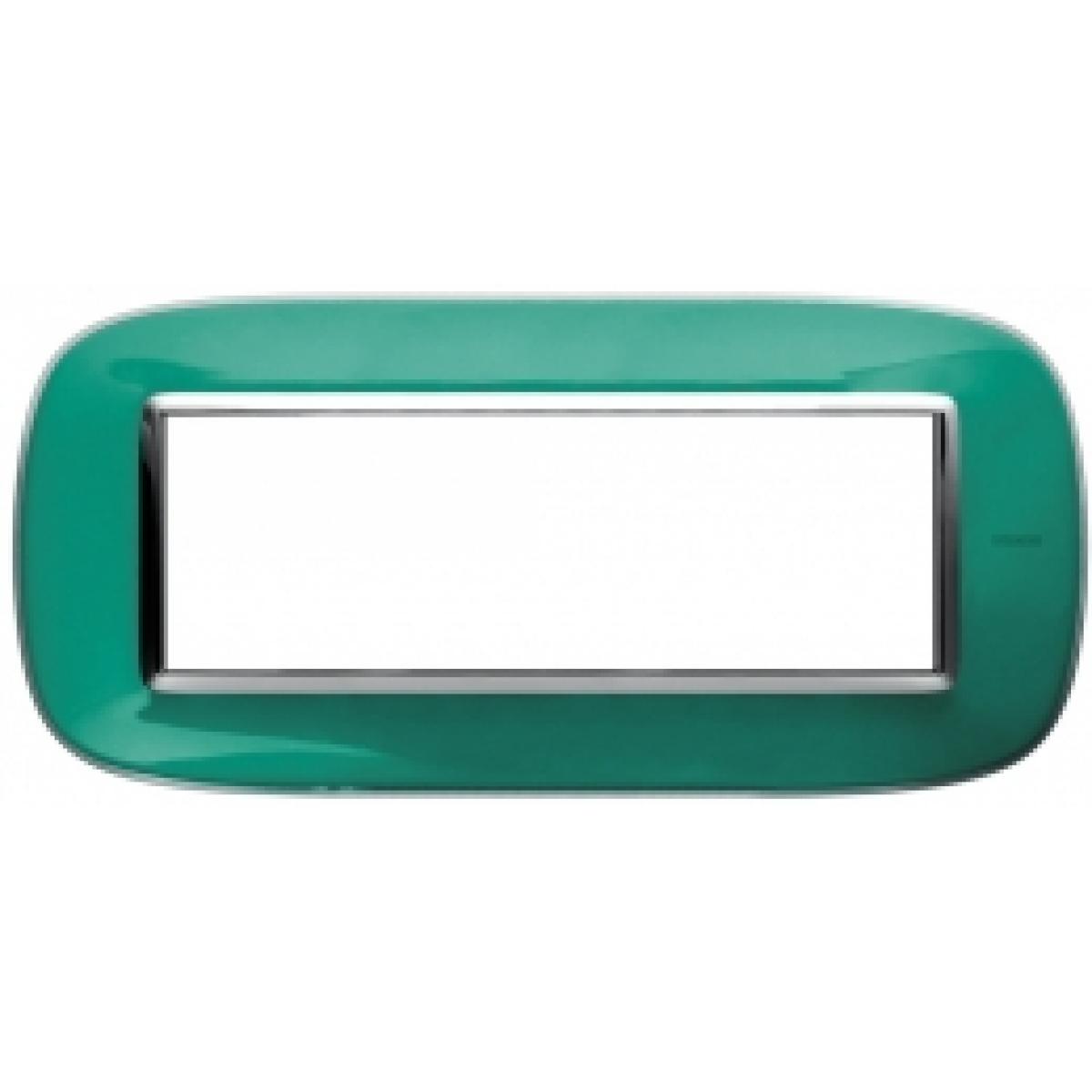 Placca Ovale 6 Posti Bticino Axolute Verde Liquido HB4806DV