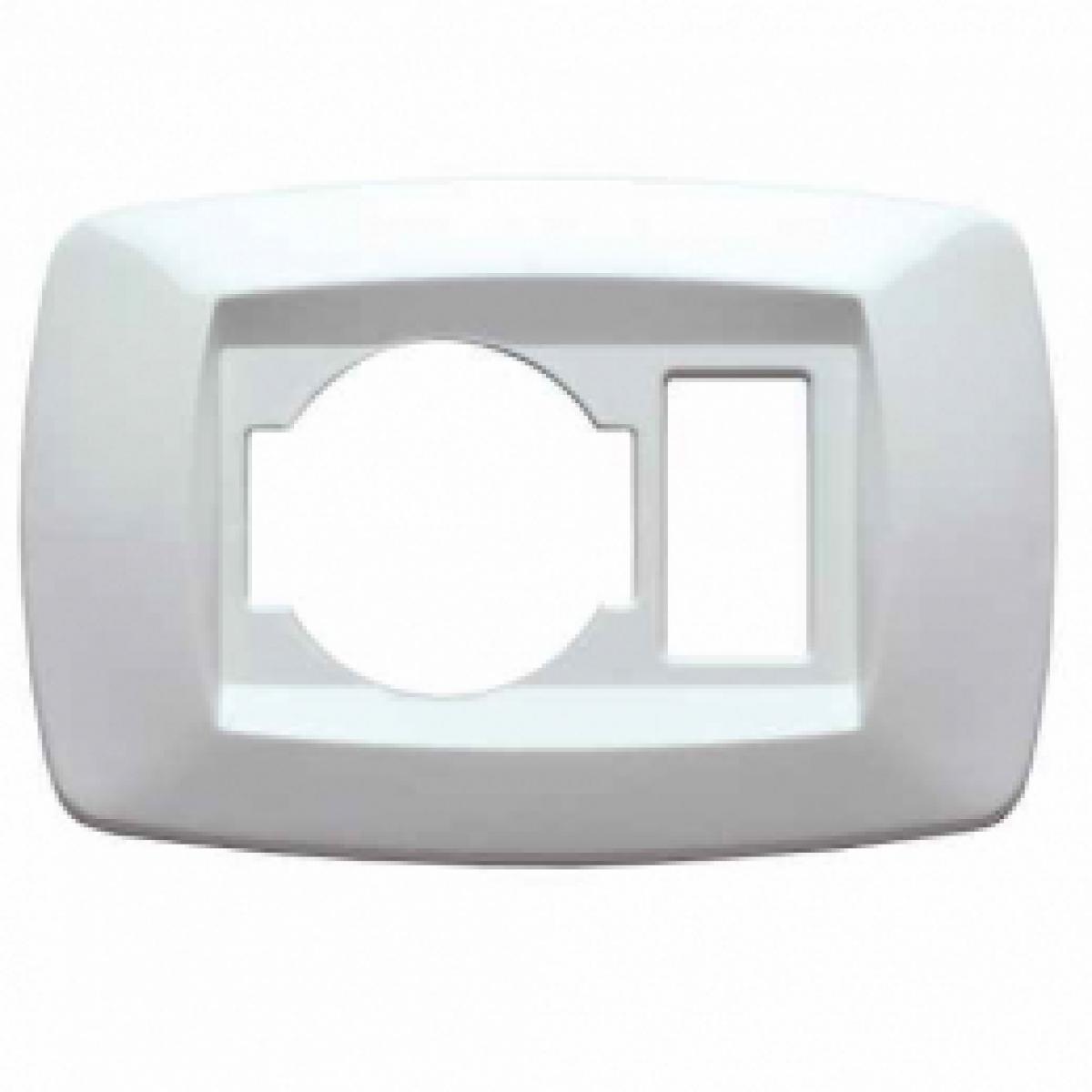Placca bianco 1 foro + presa unel schuko MD10NU1 master modì