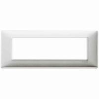 Placca 7 posti alluminio spazzolato 14657.81 vimar plana