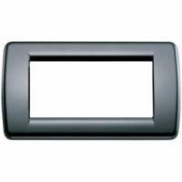 Idea vimar placca rondo 4 posti colore nero 16764.16