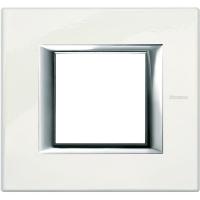 Placca 2 Posti Bticino Axolute Bianco Limoges HA4802BG