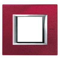 Placca 2 Posti Bticino Axolute Rosso China HA4802RC