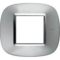 Placca Ovale 2 Posti Bticino Axolute Alluminio HB4802XC