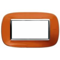 Placca Ovale 4 Posti Bticino Axolute Arancio Liquido HB4804DR