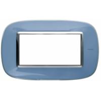 Placca Ovale 4 Posti Bticino Axolute Azzurro Liquido HB4804DZ